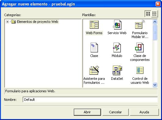 Figura 6. Añadir un nuevo formulario Web