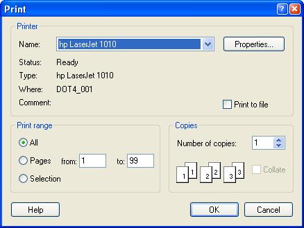 Figura 1. El cuadro de diálogo para seleccionar la impresora