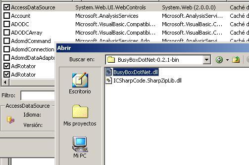 Instalar el control en la toolbar de VS 2005