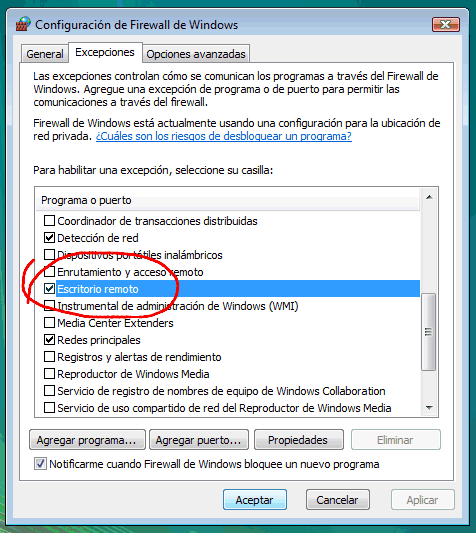 Escritorio Remoto En Windows Vista