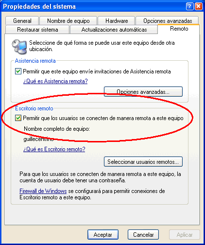 Figura 1. Permitir acceso al escritorio remoto de Windows XP