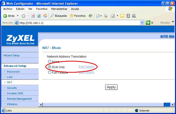 Figura 11. Configuración NAT