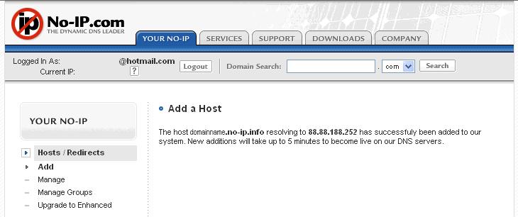 Figura 15. Confirmación de que se ha añadido el host