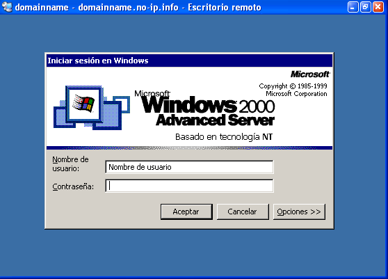 Figura 30. Iniciar sesión en un Windows 2000 Advanced Server